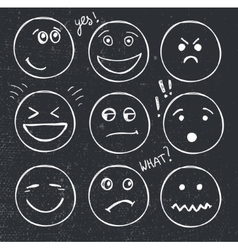 set of hand drawn faces moods smiles vector image