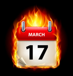 seventeenth march in calendar burning icon on vector image