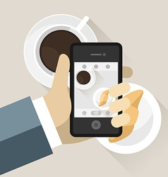Smartphone taking photo of coffee cup and vector