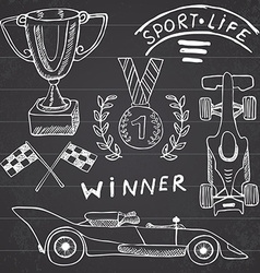 Sport auto items doodles elements hand drawn set vector