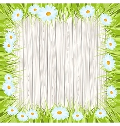Spring background with wooden sign Grass vector image