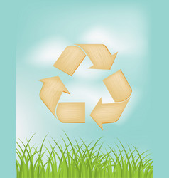 the wooden texture background with recycle symbol vector image
