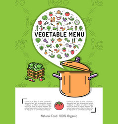 vegetable menu card vegetables icons cooking pot vector image