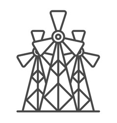 Wind energy plant linear icon vector