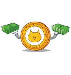 With money monacoin mascot cartoon style vector