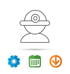 Worker icon engineering helmet sign vector