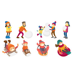 young caucasian white people playing in snow set vector image