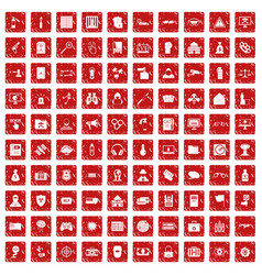 100 hacking icons set grunge red vector image vector image