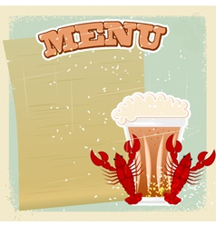 Vintage beer crayfish menu vector