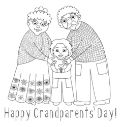 Happy grandparents day card poster with vector