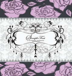 Floral wedding invitation card vector