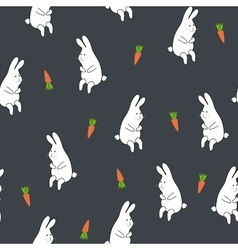 Seamless floral pattern with rabbit and carrot vector image