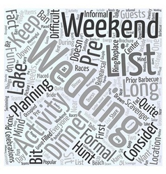 Wedding weekend activities word cloud concept vector