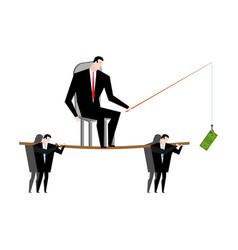 Business motivation boss holding dollar fishing vector