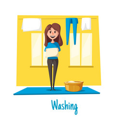 Poster of woman and laundry washing vector
