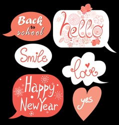 bubbles with different greetings vector image