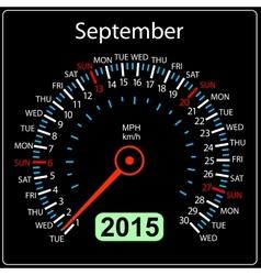2015 year calendar speedometer car in  September vector image