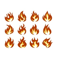 Fire Flame Icon Set in Flat Style vector image