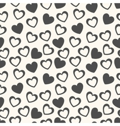 Heart shape seamless pattern black and white vector