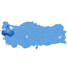 Map of turkey balikesir vector