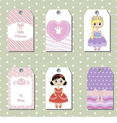 Cute creative cards with princess theme design vector