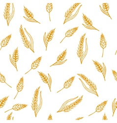 Hand drawn seamless pattern with ears of wheat vector