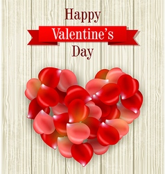 Romantic valentine card with heart of rose petals vector