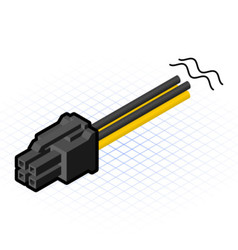 Isometric four pin connector vector