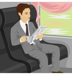 Businessman reading newspaper on train vector