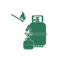 Burner and gas bottle icon vector