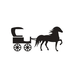 Flat icon in black and white style carriage with vector