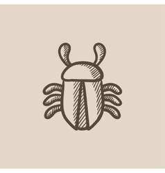 Computer bug sketch icon vector