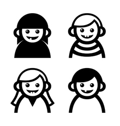 Baby and Children Faces Icons Set vector image