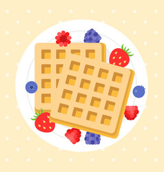 belgium waffles with berries vector image vector image