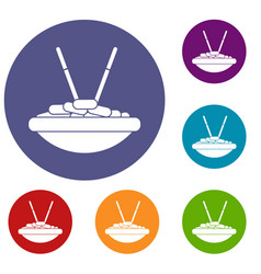 bowl of rice with chopsticks icons set vector image vector image