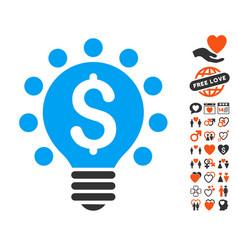 Business patent bulb icon with valentine bonus vector