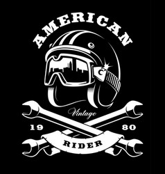 Cafe racer helmet with wrenches on dark background vector