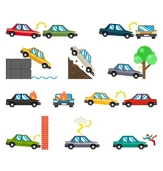 Car accidents flat icons vector