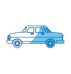 Car sedan transport blue line vector