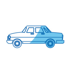 car sedan transport blue line vector image