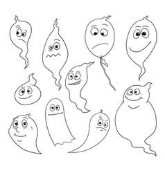 cartoon set of friendly ghosts vector image
