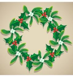 Christmas Wreath of Mistletoe vector image