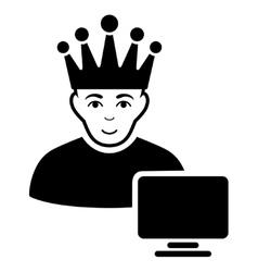 Computer moderator flat icon vector