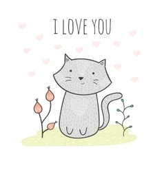 Cute hand drawn doodle card with a cat and flowers vector