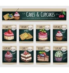 Dessert cakes cupcakes price cards vector