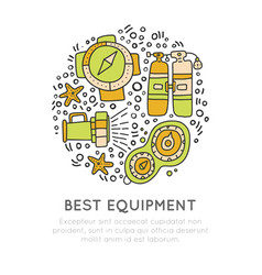 diving equipment hand draw icons underwater vector image vector image