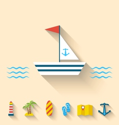 Flat set icons of cruise holidays and journey vector