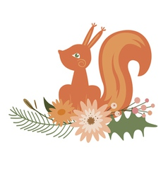 Floral design with squirrel vector image vector image