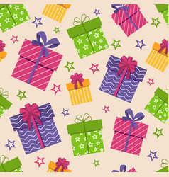 Gift box seamless pattern boxes with gifts vector