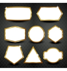 gold frames isolated on black background vector image
